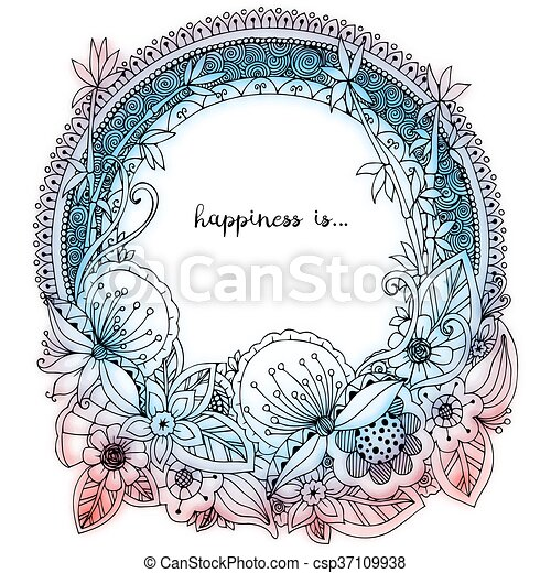 Vector Illustration Zen Tangle Doodle Round Frame With Flowers Mandala Coloring Book Anti Stress