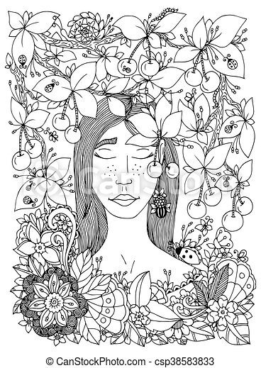 Vector illustration Zen Tangle girl and cherry. Doodle flowers frame. Coloring book anti stress for adults. Black and white. - csp38583833