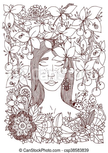 Vector illustration Zen Tangle girl and cherry. Doodle flowers frame. Coloring book anti stress for adults. Brown and white. - csp38583839