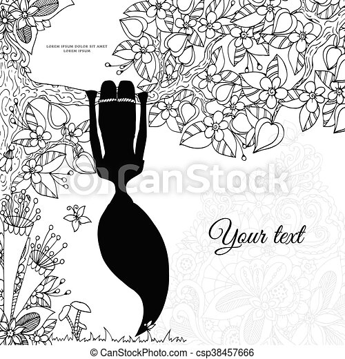 Vector illustration Zen Tangle, girl hangs on a tree upside down. Doodle floral frame. Coloring book anti stress for adults. Black white. - csp38457666