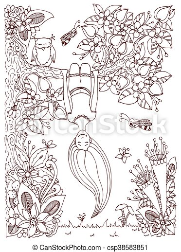 Vector illustration Zen Tangle, girl hangs on a tree upside down. Doodle floral frame. Coloring book anti stress for adults. Brown and white. - csp38583851