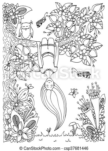 Vector illustration Zen Tangle, girl hangs on a tree upside down. Doodle floral frame. Coloring book anti stress for adults. Black white. - csp37681446