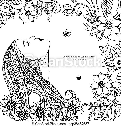 Vector Illustration Zen Tangle Girl With Flowers Doodle Drawing Coloring Book Anti Stress For