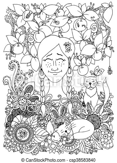Vector illustration Zen Tangle girl with pigtails and apples. Doodle flowers frame. Coloring book anti stress for adults. Black and white. - csp38583840
