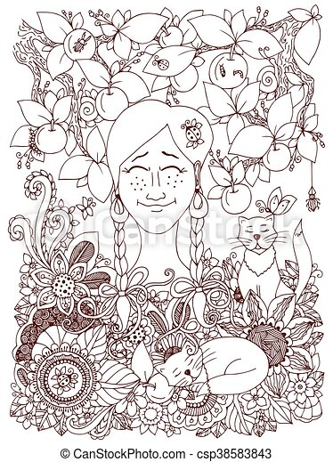 Vector illustration Zen Tangle girl with pigtails and apples. Doodle flowers frame. Coloring book anti stress for adults. Brown and white. - csp38583843