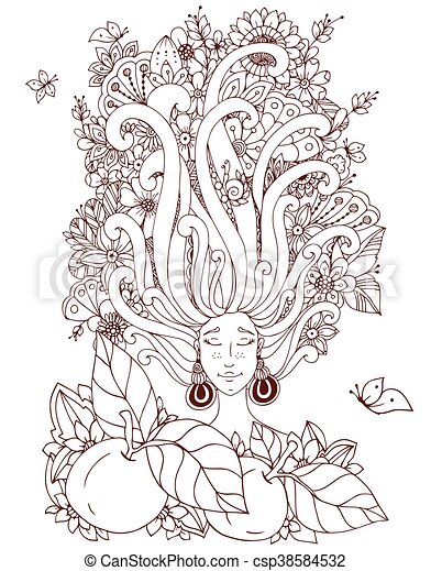 Vector Illustration Zen Tangle Girl With Freckles Sleeps Doodle Flowers In Her Hair Butterfly
