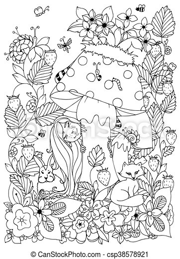 Forest in autumn. Black-and-white illustration (coloring page ... | 470x326