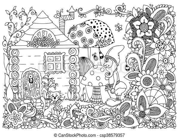 Vector illustration zen tangle gnome and a house. doodle ...