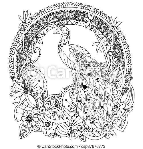 Vector Illustration Zen Tangle Peacock And Flowers Doodle Drawing Coloring Book Anti Stress For