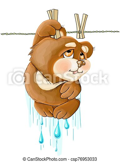 vector illustrations funny cute brown teddy bear hanging - csp76953033