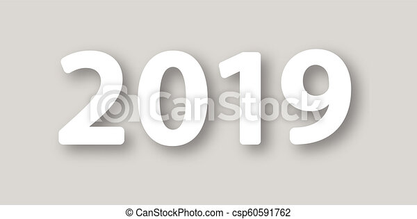vector illustrationvector modern minimalistic happy new year card for 2019 with main big numbers