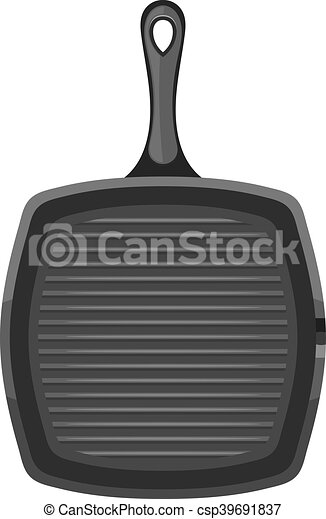 vector image of a black square cast iron pan with a handle on a rh canstockphoto com Fridge Clip Art Tongue Clip Art