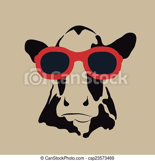Vector image of a cow wearing glasses. - csp23573469