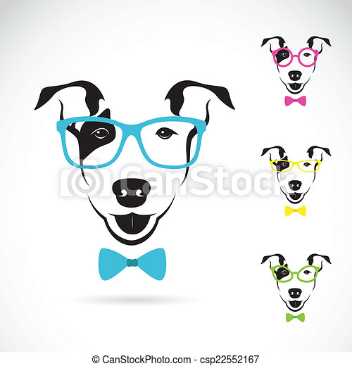 Vector image of a dog (Bull terrier) glasses on white background - csp22552167