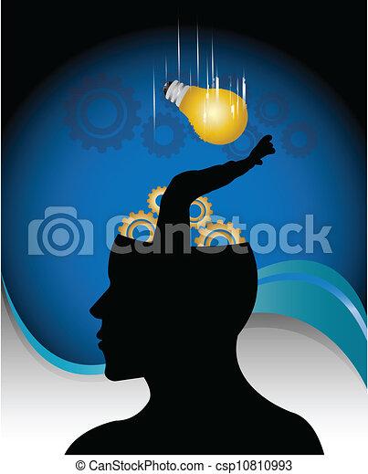 vector image of a idea bulb falling - csp10810993
