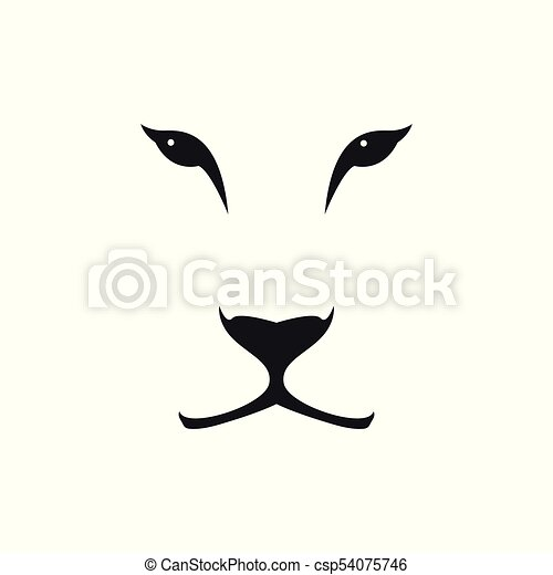 Vector image of a lioness head on white background. - csp54075746