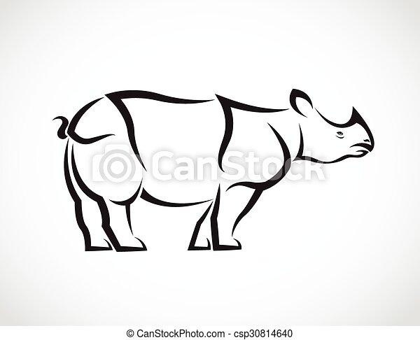 Vector image of a rhinoceros design on white background - csp30814640