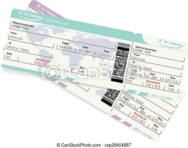 Vector image of airline boarding pass ticket  - csp28404887