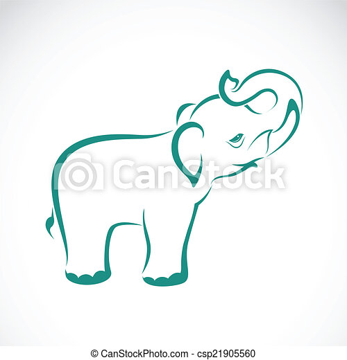 Vector image of an elephant on a white background - csp21905560