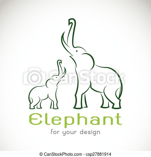 Vector image of an elephant on a white background - csp27881914