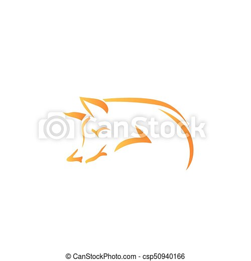 Vector image of an fox on white background - csp50940166