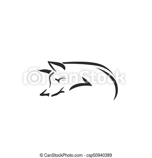 Vector image of an fox on white background - csp50940389