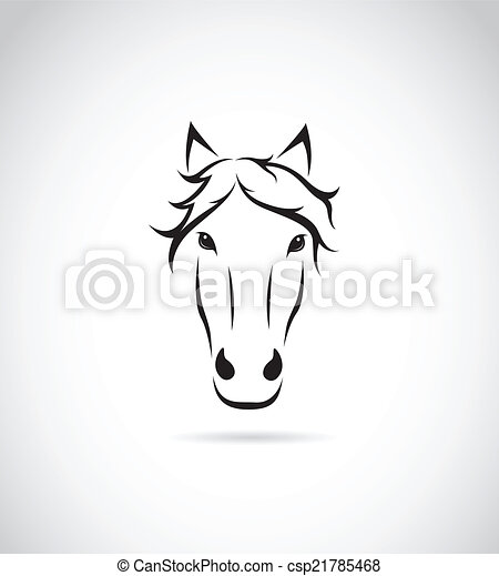 Vector image of an horse face on white background - csp21785468