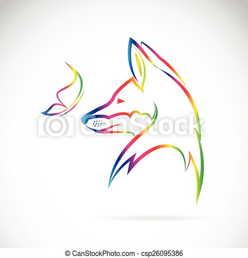 Vector image of butterfly and fox on white background - csp26095386