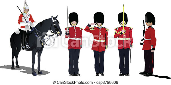 Vector image of five beefeaters. E - csp3798606