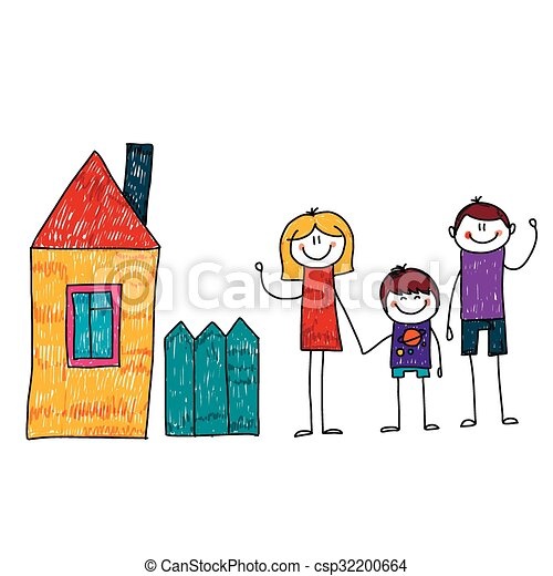 vector image of happy family with house kids drawing clip art rh canstockphoto com happy family picture clipart happy family picture clipart
