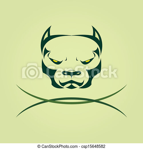 Vector image of head Dog Pitbull. - csp15648582