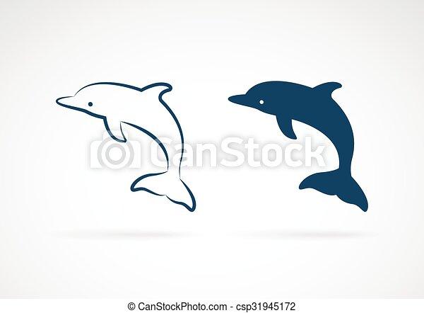 Imágenes de un delfín de fondo blanco - csp31945172