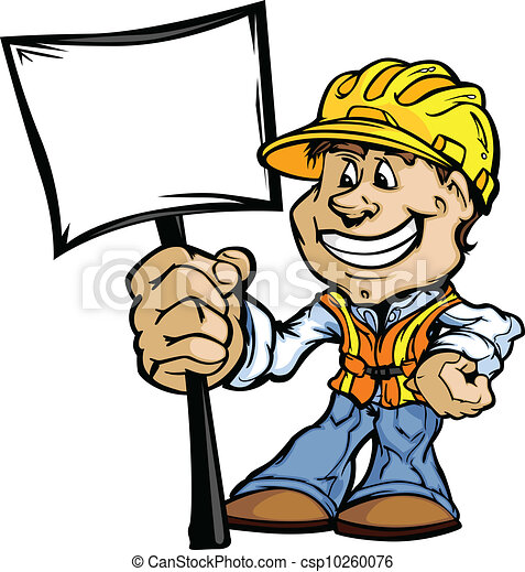 Feliz contratista de construcción con imagen de vector de dibujos animados - csp10260076