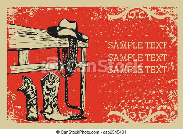 .vector, immagine, fondo, elementi, vita, grunge, cowboy's, testo, grafico - csp6545401