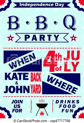 vector independence day barbecue party invitation bbq invitation