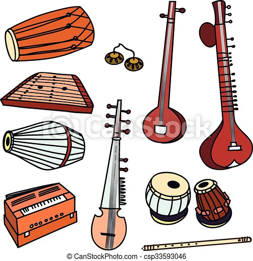 vector indian instruments isolated traditional indian instruments rh canstockphoto com