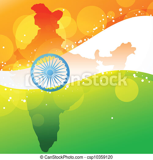 vector indian map with flag design - csp10359120