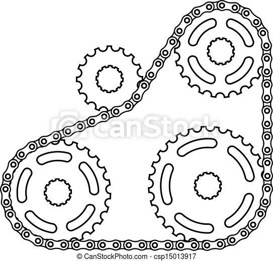 vector industrial chain sprocket silhouette - csp15013917