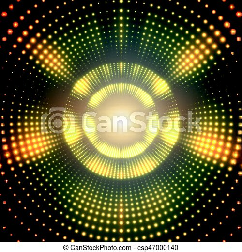 Vector infinite round tunnel of shining flares on green background. Glowing points form tunnel sectors. Abstract cyber colorful background for your designs. Elegant modern geometric wallpaper. - csp47000140