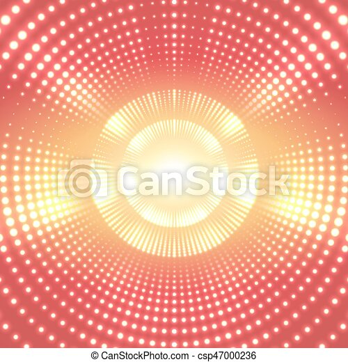 Vector infinite round tunnel of shining flares on yellow background. Glowing points form tunnel sectors. Abstract cyber colorful background for your designs. Elegant modern geometric wallpaper. - csp47000236
