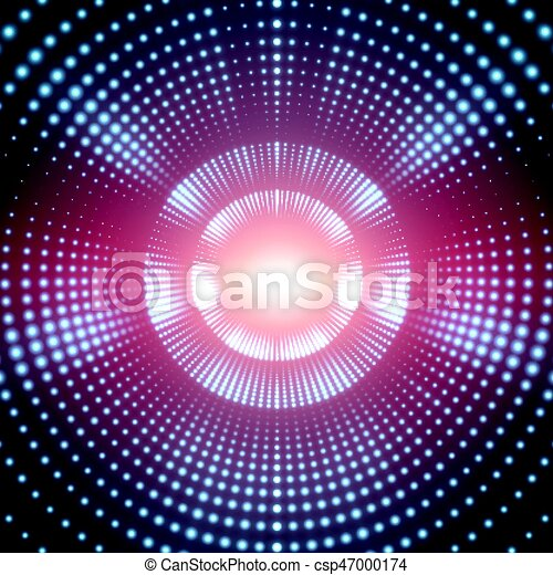 Vector infinite round tunnel of shining flares on blue background. Glowing points form tunnel sectors. Abstract cyber colorful background for your designs. Elegant modern geometric wallpaper. - csp47000174
