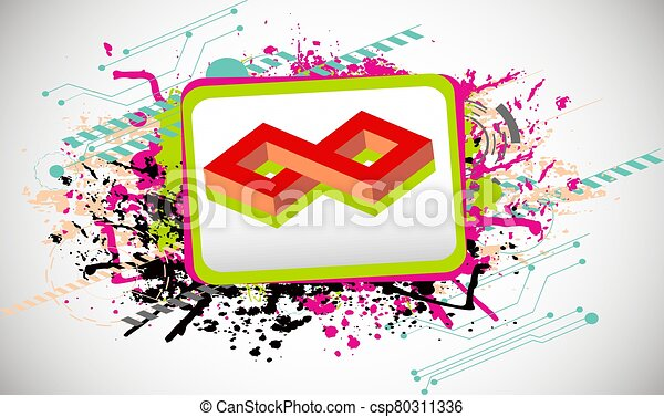 vector infinity symbol in a frame on color art background - csp80311336