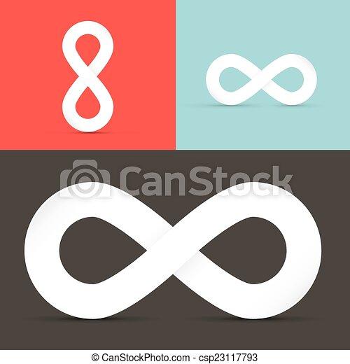 Vector Infinity Symbols Set on Retro Background  - csp23117793