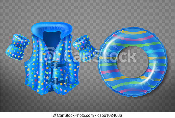 Vector Inflatable Swim Ring Life Vest Armbands Vector Set With Blue Rubber Ring Life Jacket And Inflatable Armbands For Canstock