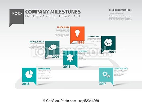Vector Infographic Company Milestones Timeline Template With - Milestone timeline template