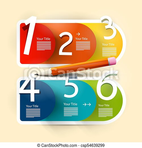 Vector Infographic Design. Paper Infographics Layout. Colorful Papers with Numbers. - csp54639299