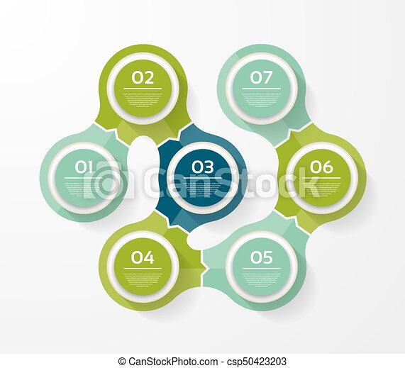 Vector infographic template for diagram, graph, presentation and chart. Business concept with 7 options, parts, steps or processes - csp50423203