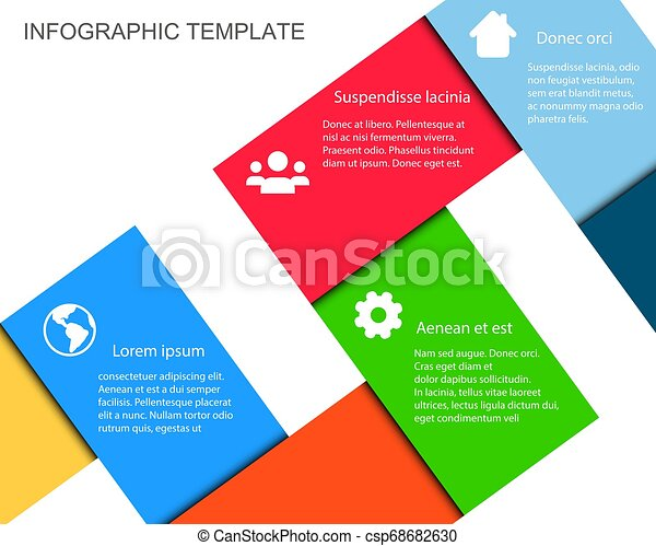 Vector Infographic Template with Color Paper Ribbons and place for your content - csp68682630