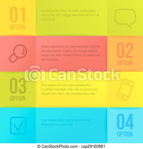 Vector infographic template with copyspace. Abstract paper squares background. - csp29160881