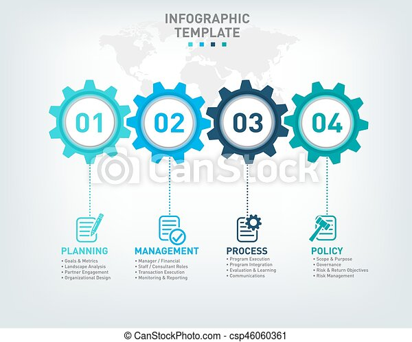 Vector infographic template with gears and world map vector vector infographic template with gears and world map gumiabroncs Images